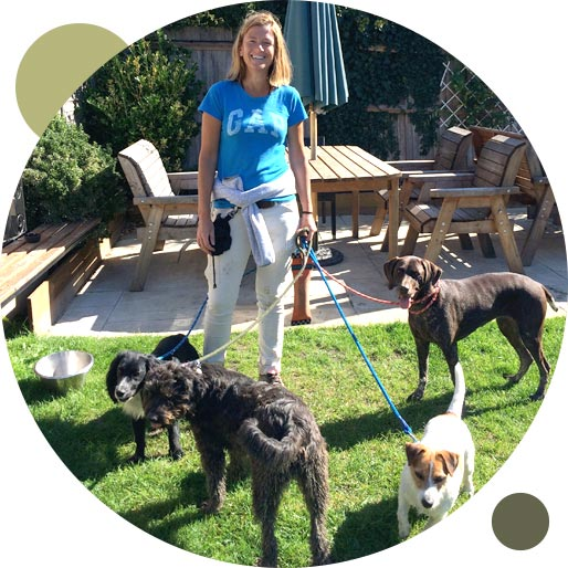 Denise Roots of Outdoor Hounds ready for a group dog walk